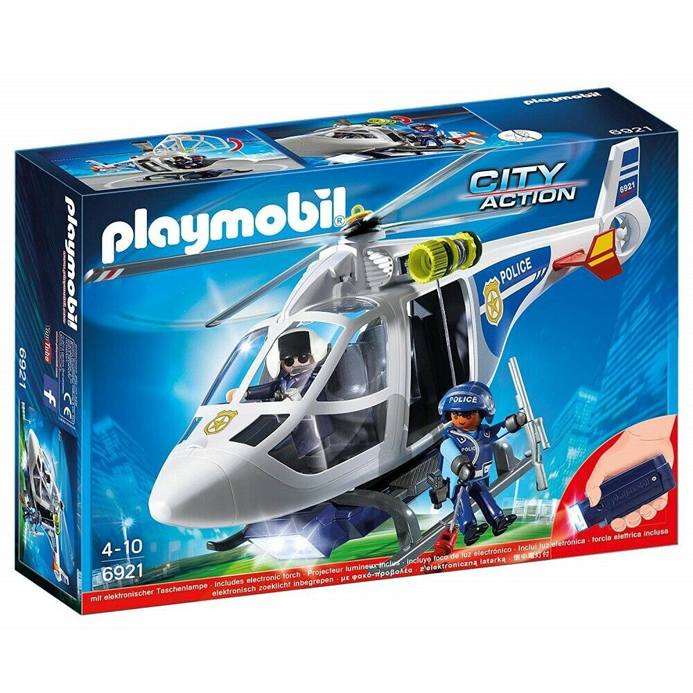 Playmobil City Action 6921 Police Helicopter with LED Searchlight Toy