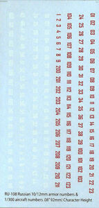 RU-108 - WWII Russian Numbers - 1/285-1/144 Decals