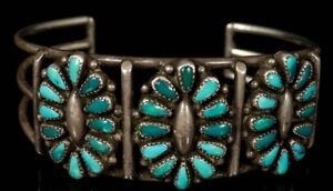 SHIPS FREE Mid Century Maryann Felix Chavez Zuni Native American Artisan Handmade Sterling Silver and Turquoise Pendant Bear Paw Earring Set