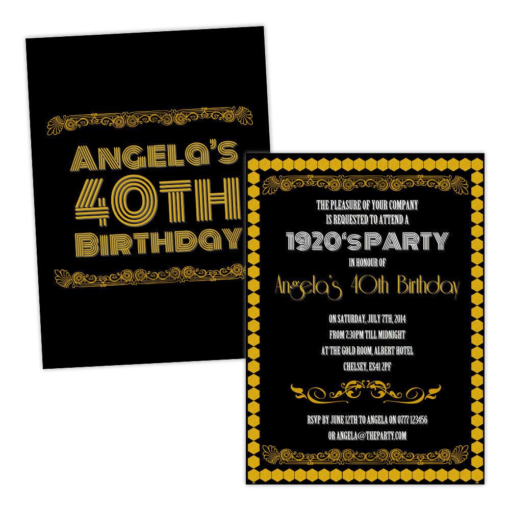 Personalizado Fiesta De Cumpleaños Invitaciones 1920 Del oro Negro Art Deco Gratis Envoltura