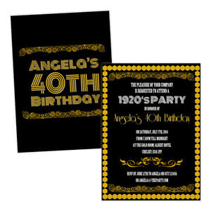 Personalised-birthday-party-invitations-1920-039-S-BLACK-GOLD-ART-DECO-FREE-ENVELOPE