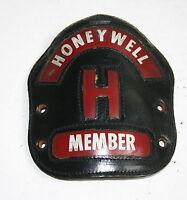 VINTAGE FIREFIGHTERS HELMET LEATHER FRONTICE HONEYWELL FIRE BRIGADE MEMBER PHILA