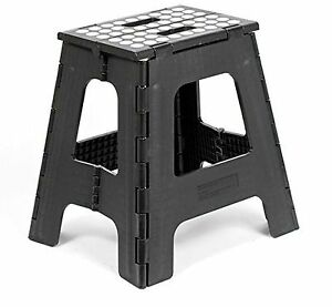 Kikkerland Rhino Tall Folding Step Stool Black Ebay