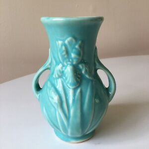 "Vintage Shawnee USA Pottery Double Handle  5"" Turquoise Iris Bud Vase"