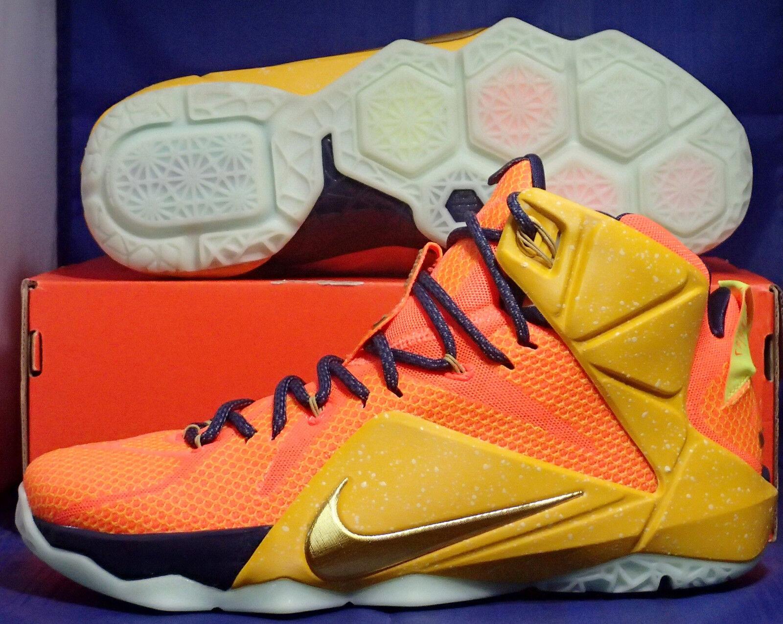 Nike Lebron XII 12 iD Orange Yellow Navy Glow in the Dark SZ 9.5 ( 728709-991 )