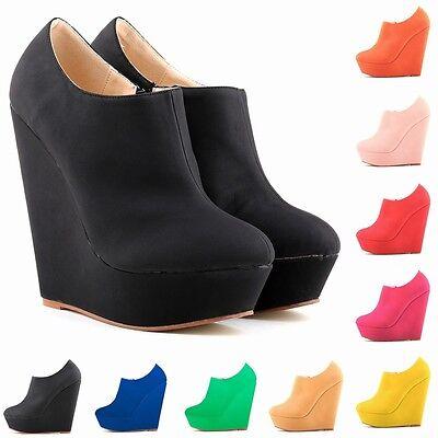 Elegent Ladies Platform Matt Leather High Heels Ankle Boots Wedges Shoes US 4-11