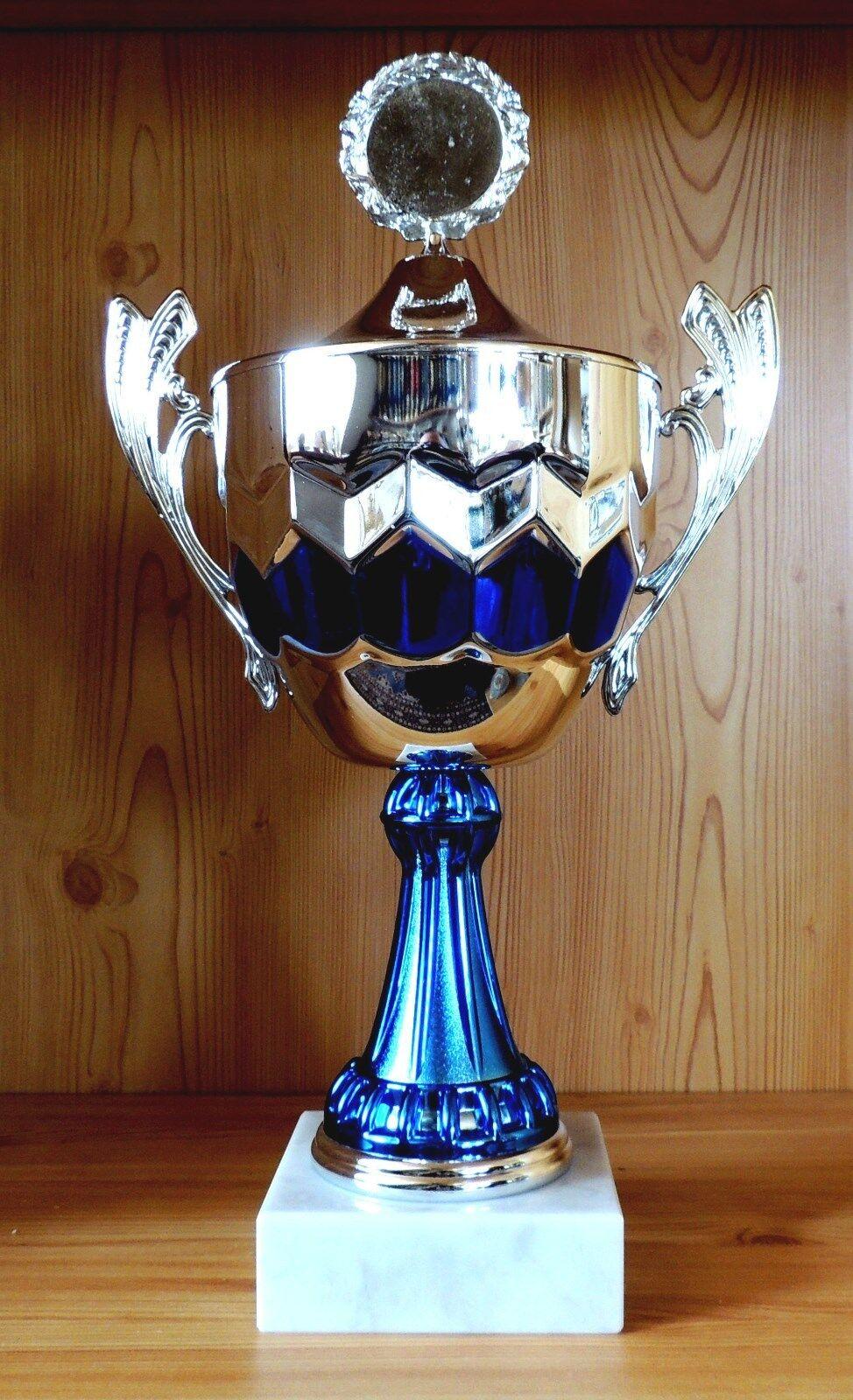 1 Henkelpokal Wanderpokal silber mit Emblem 44cm  WP2(Pokal Pokale Gravur Sport)