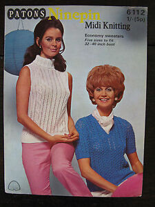 Patons-Knitting-Pattern-Ladies-Ninepin-Sweaters-32-40-034-6112