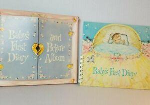 Vintage Baby Keepsake Book Album Journal 1960 First Diary Die Cut Comb Bound Box