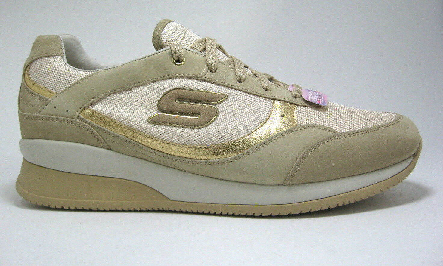 New Skechers Größe 9 Gold & Tan Wedge Fit Sneakers Vita Metallic Leder &Textile Sneakers Fit aa9e5c