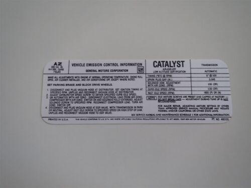 1977 CHEVROLET CHEVELLE MALIBU EL CAMINO 350 4BBL ENGINE EMISSIONS DECAL CALIFOR