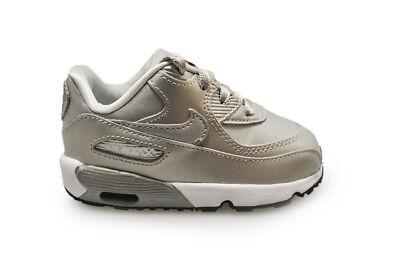 Bambini Nike Air Max 90 se Ltr (Td) 859632 003 Argento Metallizzato Bianco   eBay