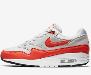 Women-Nike-Air-Max-1-UK-Sizes-6-amp-6-5-Vast-Grey-Herbanero-Red-NEW