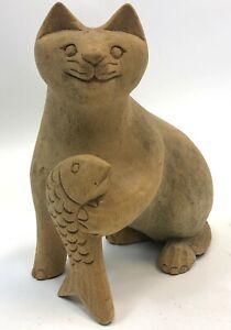 Vintage-10-034-Brown-Carved-Wood-Kitty-Kitten-Cat-w-Fish-Statue-Figure-Figurine