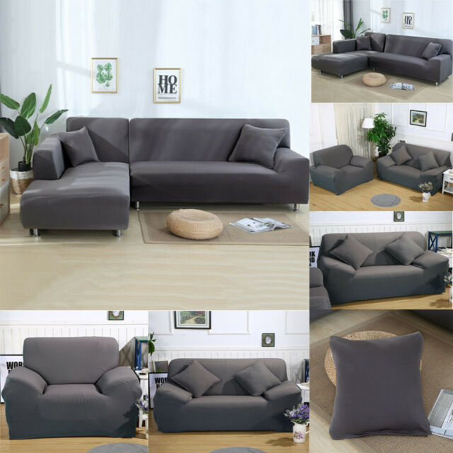 L Shape 1 2 3 4 Seater Stretch Sofa Covers Protector Chair Couch Slipcover