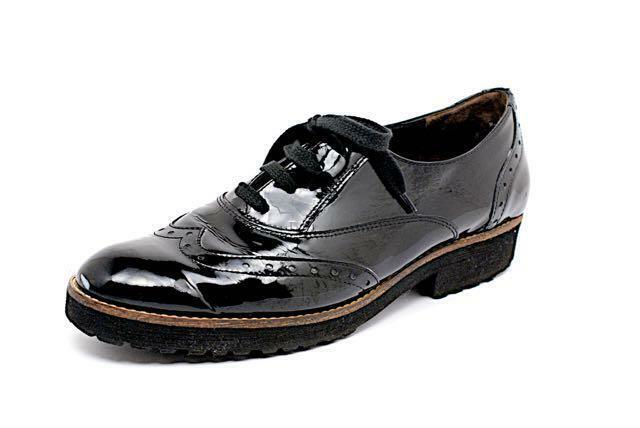 PAUL GREEN Black Patent Leather Spectator Oxfords w Rubber Platform - 8 US10.5