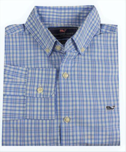 Vineyard Vines Men/'s Slim Fit Harbour Island Check Whale Shirt in Pool Side Blue
