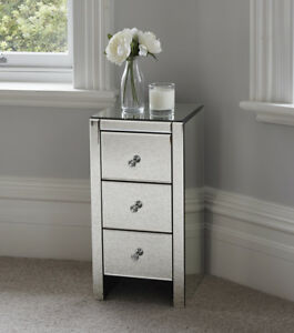 Image Is Loading Mirrored Gl Bedside Table Cabinet 3 Drawers And