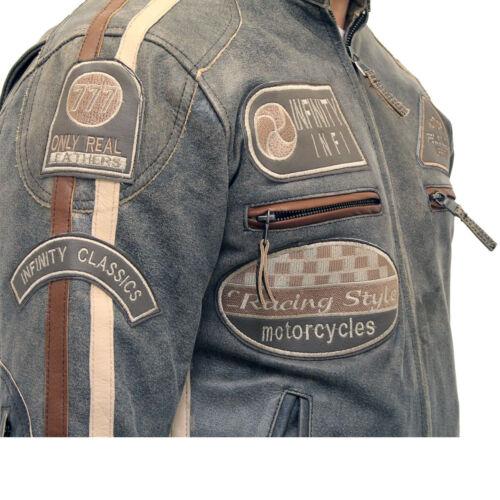 Men/'s Desert Brown Leather Racing Biker Jacket with Badges Distressed Finishing