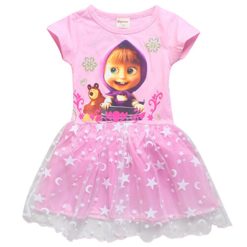 Masha And The Bear Cartoon Girls Cosplay Costume Kids Party Skirts Fancy Dress