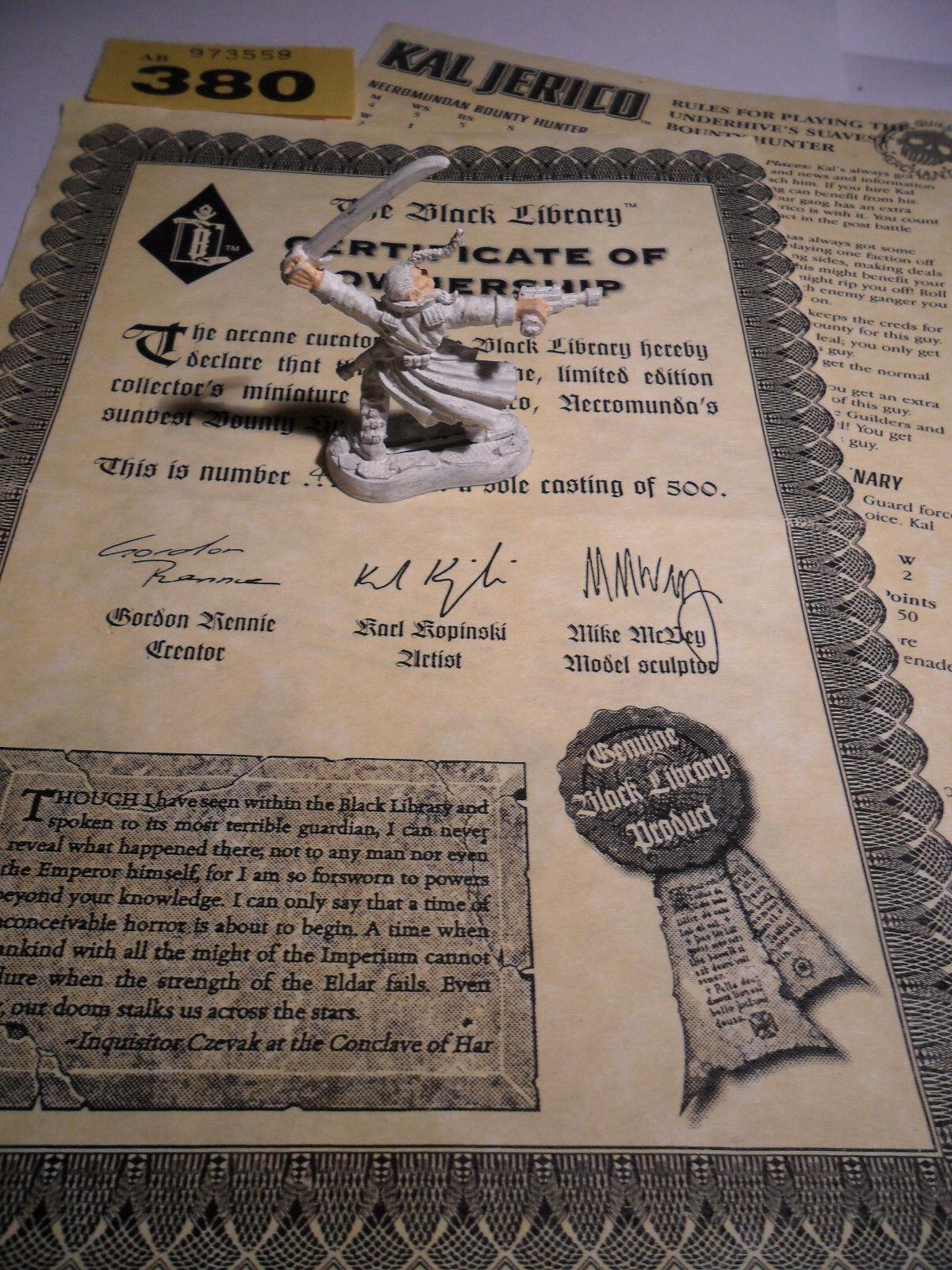 Warhammer 40k Necromunda Kal JERICO Negro Biblioteca limitada confirmó KOPINSKI Y380
