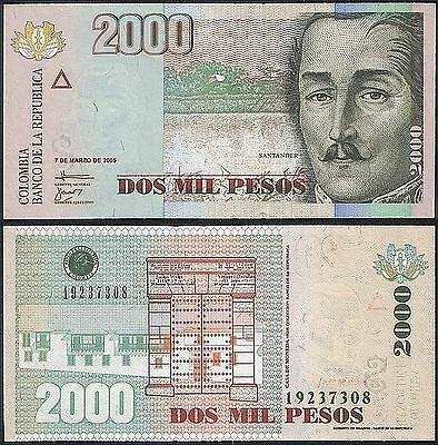2000 Pesos 2005 Small Size UNC Colombia P 457 a