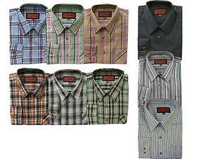 Formale-Da-Uomo-Office-Casual-Da-Lavoro-Camicia-A-Manica-Lunga-100-Cotone