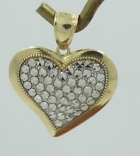 Beautiful 14K Yellow & White Gold Diamond Cut Wavey Edge Heart Pendant C318
