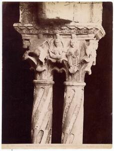 Monreale Palermo Chiostro Particolare Foto all' albumina Incorpora 1880c L893