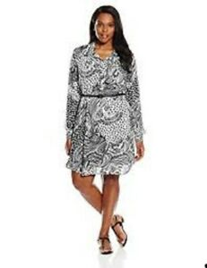 Details about Women\'s Plus Size Button down Shirt Dress with Slip Sz 2X  BLACK/WHITE NWT