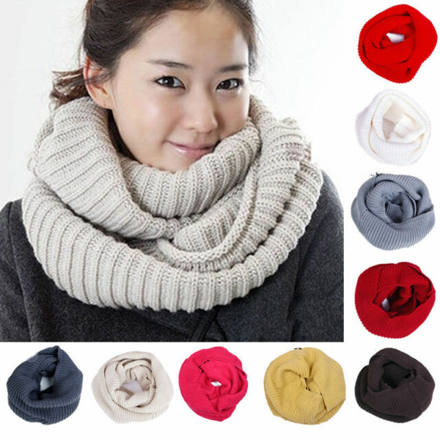 New Men Women Winter Infinity 2 Circles Cable Knit Cowl Neck Long Scarf Shawl