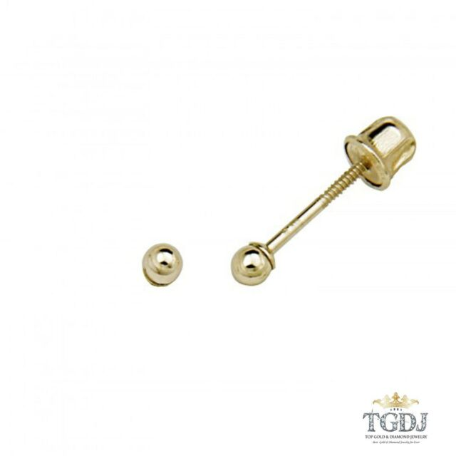 c2cfeffd5 14K Solid Yellow Gold 2mm Ball Screw Back Stud Earrings Baby Children Girls