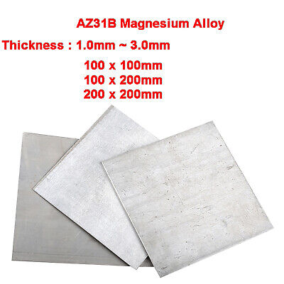 "1 Piece Magnesium Mg Alloy AZ31B Plate Sheet 2mm x 100 mm x 100mm 4"" x 4/"""
