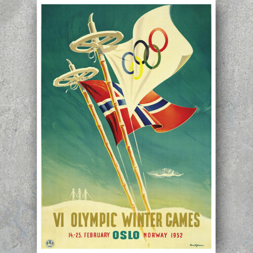 OSLO NORGE NORWAY A3 A6 Vintage Travel Poster Olympic Games Retro HQ Print
