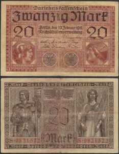 GERMANY-20-mark-1918-P-57-Europe-banknote-Edelweiss-Coins