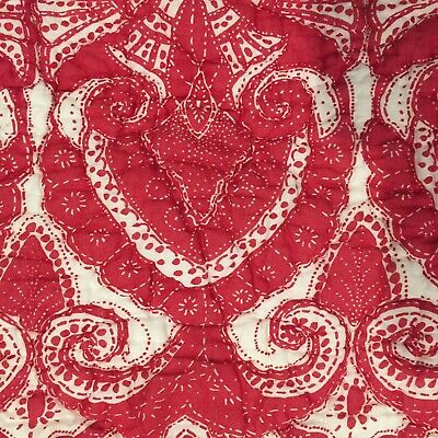 ️ 1 Pottery Barn Red White Keller Print Quilted 26 Quot Euro