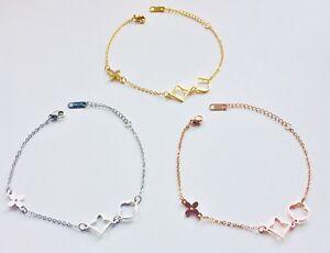 Damen Armband Edelstahl Armbänder Blume Klee Blatt Blüte Rosegold Silber Gold
