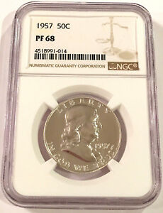 1957 Franklin Silver Half Dollar 50c ~ NGC PF68 ~ STUNNING PROOF!