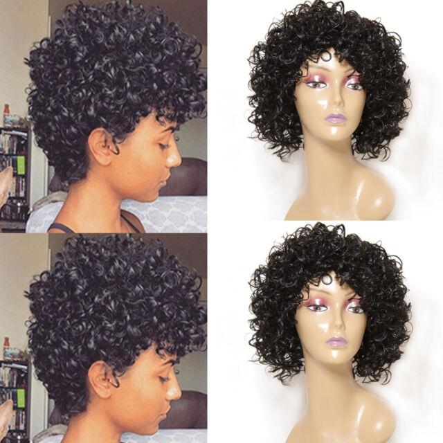 Afro Yaki Kinky Curly Wig Black Short Like Human Hair Wigs for Black Women