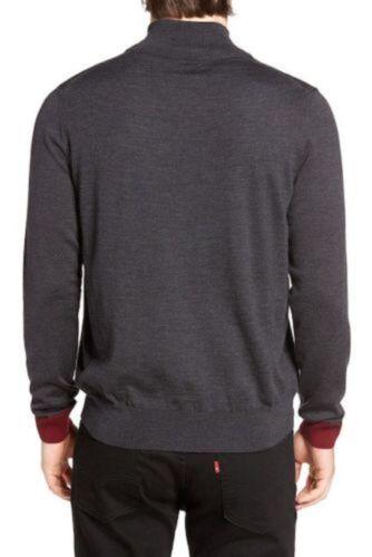 Psycho Bunny Men/'s Charcoal Gray Big Bunny Merino Wool 1//2 Zip Sweater
