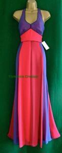 New-MONSOON-UK10-Purple-Pink-JADE-MAXI-Silky-Halter-Evening-Prom-Dress-160-RARE