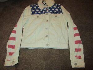 BNWT-UK-12-Topshop-Moto-Denim-Jacket-USA-American-Flag-Bleached-Red-Blue-Stars