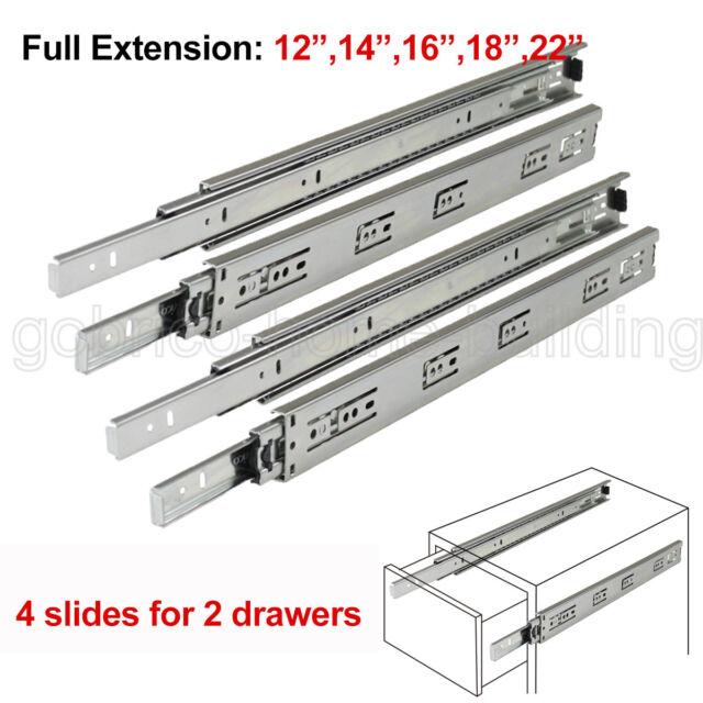"""Ball Bearing 12/""""-22/"""" Drawer Slides Glide Runner Side Mount Full Extension+Screws"""