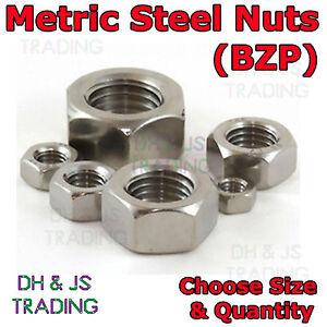 10 x Metric Hexagonal M16 Steel Nuts Bright Zinc Plated Standard Pitch