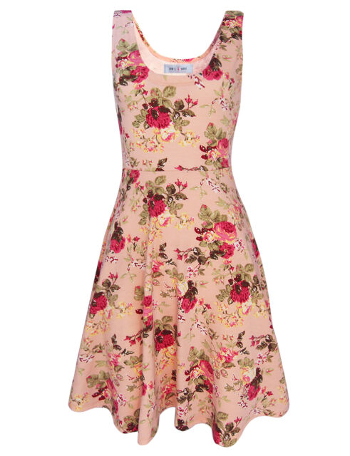 Tom's Ware Womens Casual Fit and Flare Floral Sleeveless Dress (TWCWD054)