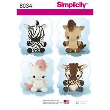 Simplicity SEWING PATTERN 8034 Stuffed Toy Animals-Unicorn,Horse,Zebra,Giraffe