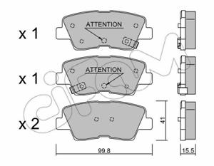 Bremsbelagsatz Scheibenbremse Hinterachse Cifam 822-886-1