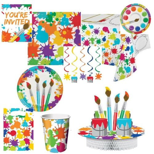 ART PARTY Birthday Range Tableware Supplies Balloons Painting Decorations