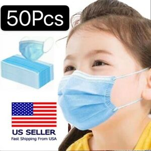 [KIDS] 50 PCS Disposable Face Mask 3-Ply Non-Medical Earloop Mouth Cover - Blue