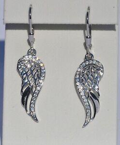 Echt-925-Sterling-Silber-Ohrringe-Fluegel-Zirkonia-crystal-Engel-Nr-9B